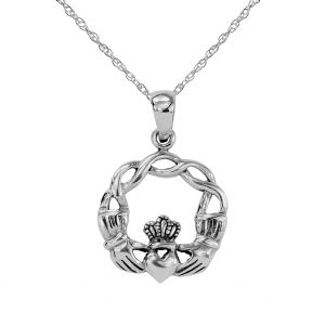 Celtic Claddagh Silver Round Pendant 9240